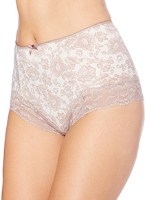Light Brown Brazilian Smoothing Lace Print Light Control Briefs 2 Pack