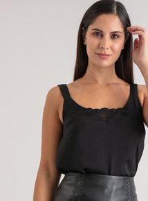 Premium Online Exclusive Black Satin Camisole