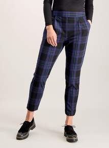 Navy Blue Check Elasticated Tapered Trousers
