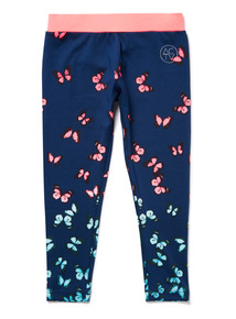 Navy Active Butterfly Print Leggings (3-14 years)