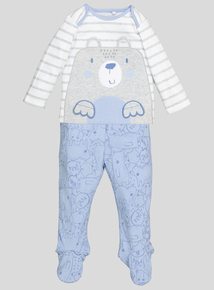 White Grey & Blue Bear Pyjamas (0-24 months)