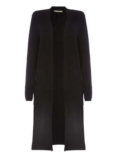 Womens Black Ribbed Maxi Cardigan Tu Clothing