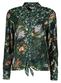 Online Exclusive PETITE Green Floral Western Tie Front Shirt