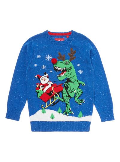 Blue Christmas Santa And Dino Jumper (3-14 years)