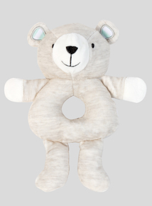Grey Teddy Bear Rattle Toy