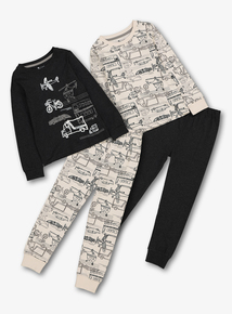 Black & White Transport Pyjamas 2 Pack (1.5- 12 Years)
