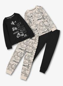 Black & White Transport Pyjamas 2 Pack (18 Months - 12 Years)
